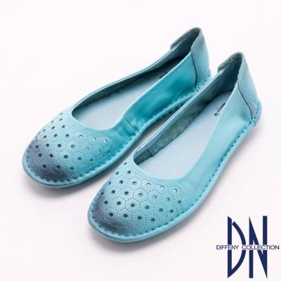 DN 復古潮流 全真皮擦色簍空包鞋 藍