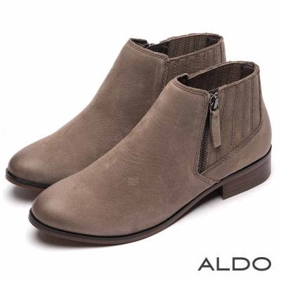 ALDO 原色真皮幾何直紋金屬拉鍊踝靴~內斂灰色