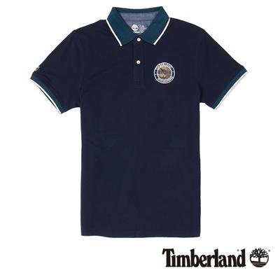 Timberland-男款深藍色品牌布章短袖POL