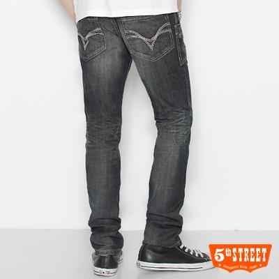 5th STREET  城市旅人 URBA小直筒牛仔褲-男款(酵洗藍)
