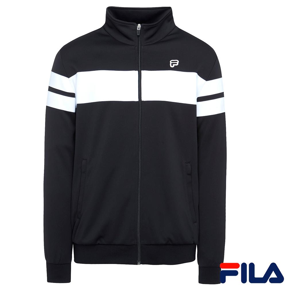 FILA男運動針織外套-黑1JKR-5415-BK