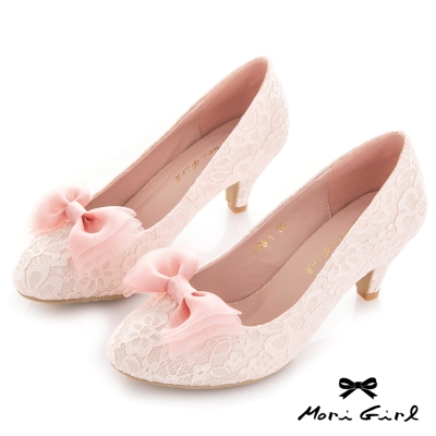 Mori girl 可拆式蝴蝶結蕾絲中跟婚鞋 粉