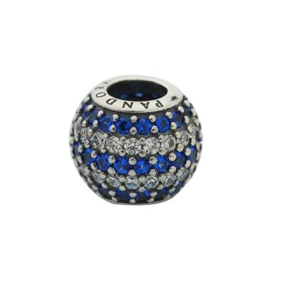 Pandora 潘朵拉 條紋滿鑲球-藍白