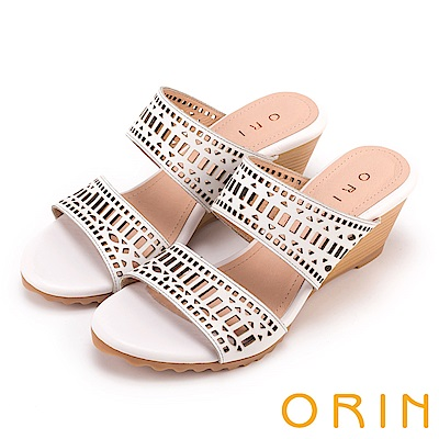 ORIN 夏日異國渡假 幾何簍空牛皮楔型涼拖鞋-白色