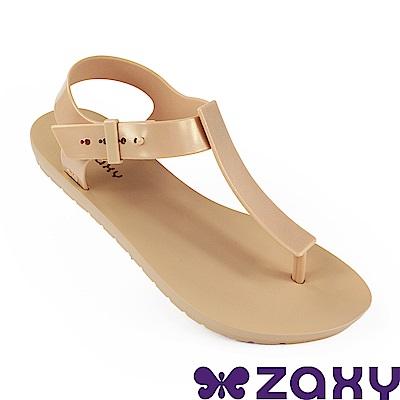 Zaxy 巴西 女 繽紛原色T字涼鞋-米色/金色