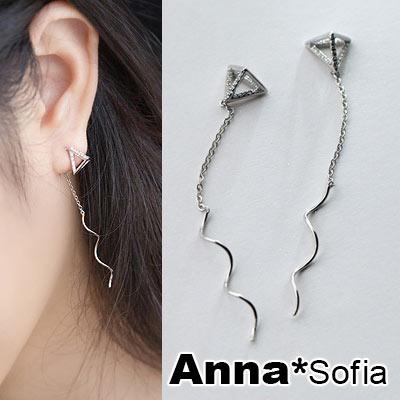 AnnaSofia 立體鑽三角波線 925純銀耳針耳環(銀系)