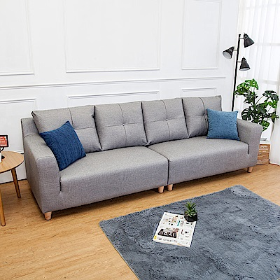 Boden-班森四人座灰色貓抓布紋皮沙發(送抱枕)