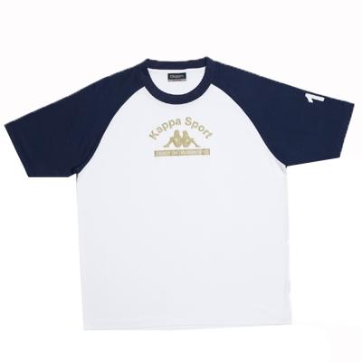 KAPPA義大利小朋友吸濕排汗速乾彩色圓領衫~白/丈青色