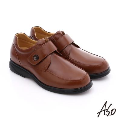 A.S.O 職人通勤 真皮寬楦魔鬼氈氣墊紳士皮鞋 茶色