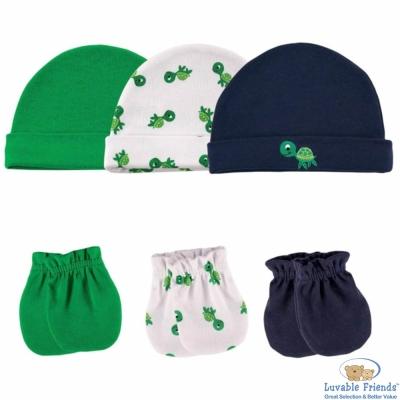 Luvable Friends 小烏龜綠色帽子手套6件組