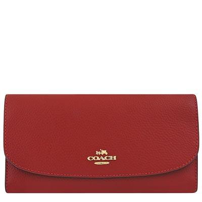 COACH 紅色馬車皮革三摺十二卡長夾-附可拆支票夾