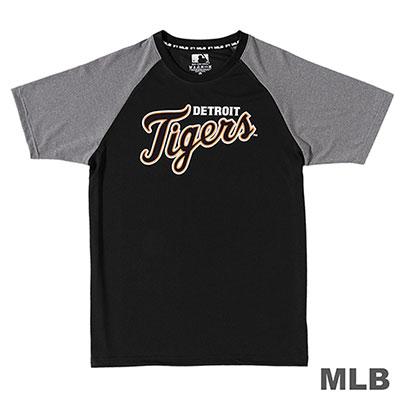 MLB-底特律老虎隊經典LOGO印花快排T恤-黑 (男)