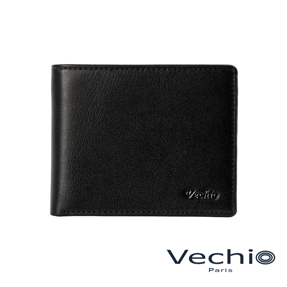 VECHIO-紳士商務款II-經典素面皮革9卡中間翻皮夾-時尚黑