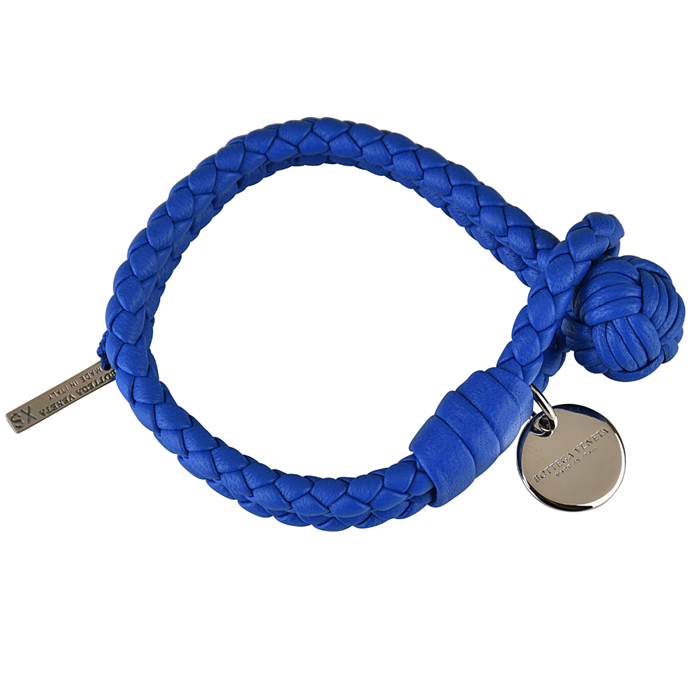 BV BOTTEGA VENETA 經典純手工編織雙環細嫩小羊皮手環(藍色)