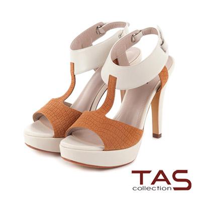 TAS-鱷魚壓紋T字鏤空後扣帶高跟涼鞋