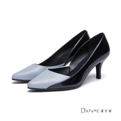 達芙妮DAPHNE-高跟鞋-V型拼接撞色高跟鞋-灰