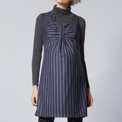 【ohoh-mini 孕婦裝】背後拉鍊條紋背心洋裝