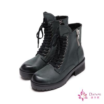 達芙妮DAPHNE-頹廢萬歲側拉鍊洗舊感綁帶短靴