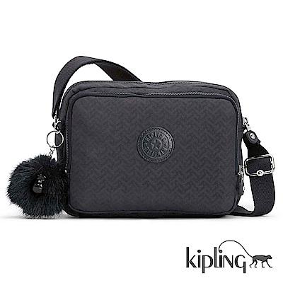 Kipling 斜背包 深藍圖騰素面-小