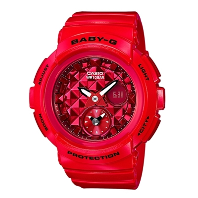 BABY-G 時尚穿搭搖滾風格休閒錶(BGA-195M-4A)熱血紅44.3mm