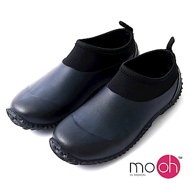 mo.oh 愛雨天-素面圓頭套腳短筒雨鞋-黑色