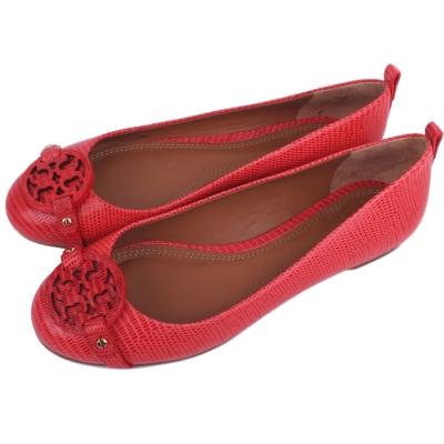TORY BURCH Miller 系列盾牌牛皮壓紋平底娃娃鞋(橘紅色)
