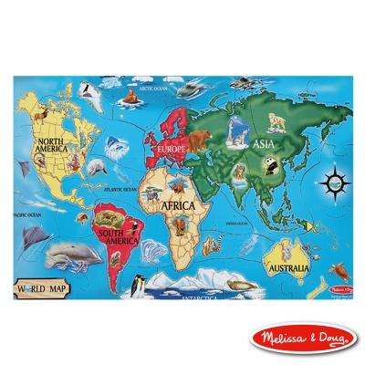 美國瑪莉莎 Melissa & Doug 大型地板拼圖 - 世界地圖 33片