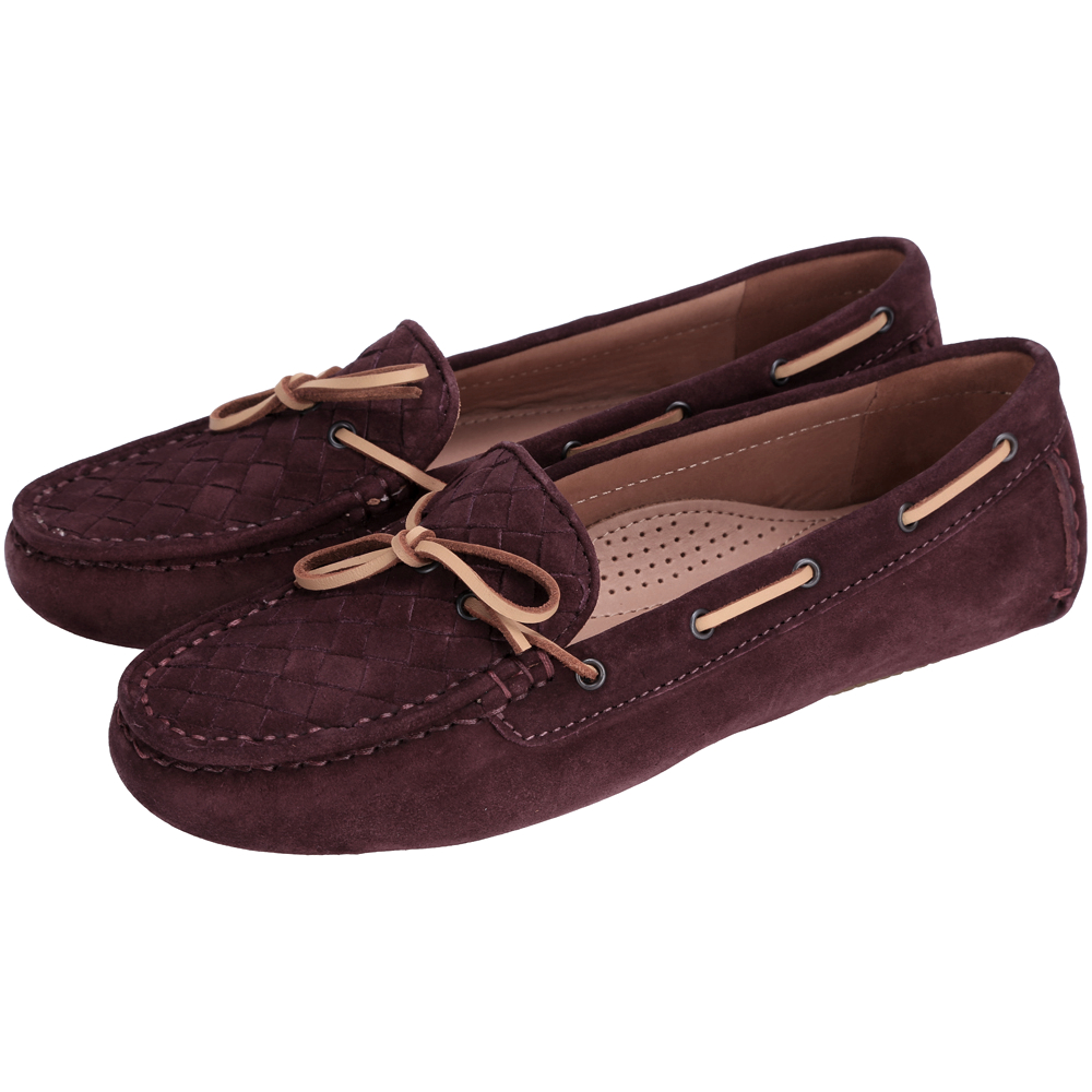 BOTTEGA VENETA 麂皮編織綁帶莫卡辛鞋(酒紅色)