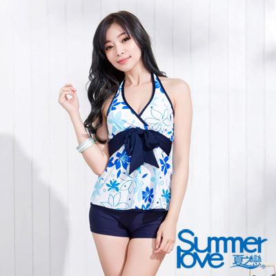 夏之戀SUMMERLOVE 淺藍花朵長版兩件式泳衣