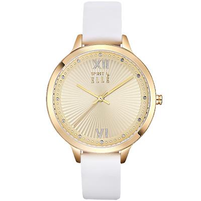 ELLE 優雅晶鑽簡約時尚手錶-玫瑰金X白/38mm