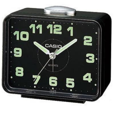 【CASIO 】夜間指針桌上方型簡約鬧鐘TQ-218-1D(黑X黑面)