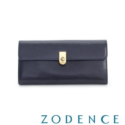 ZODENCE 義大利質鞣革系列LOGO金屬扣設計長夾 藍