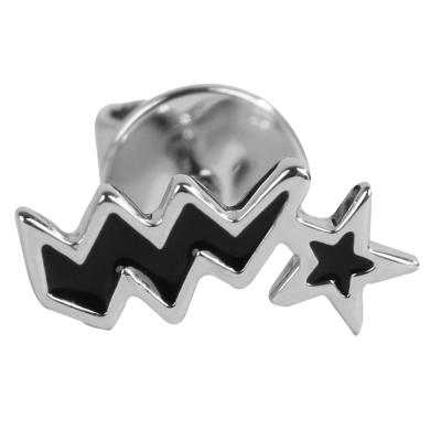 agnes b. 星星閃電穿式耳環-黑底銀邊(單隻)