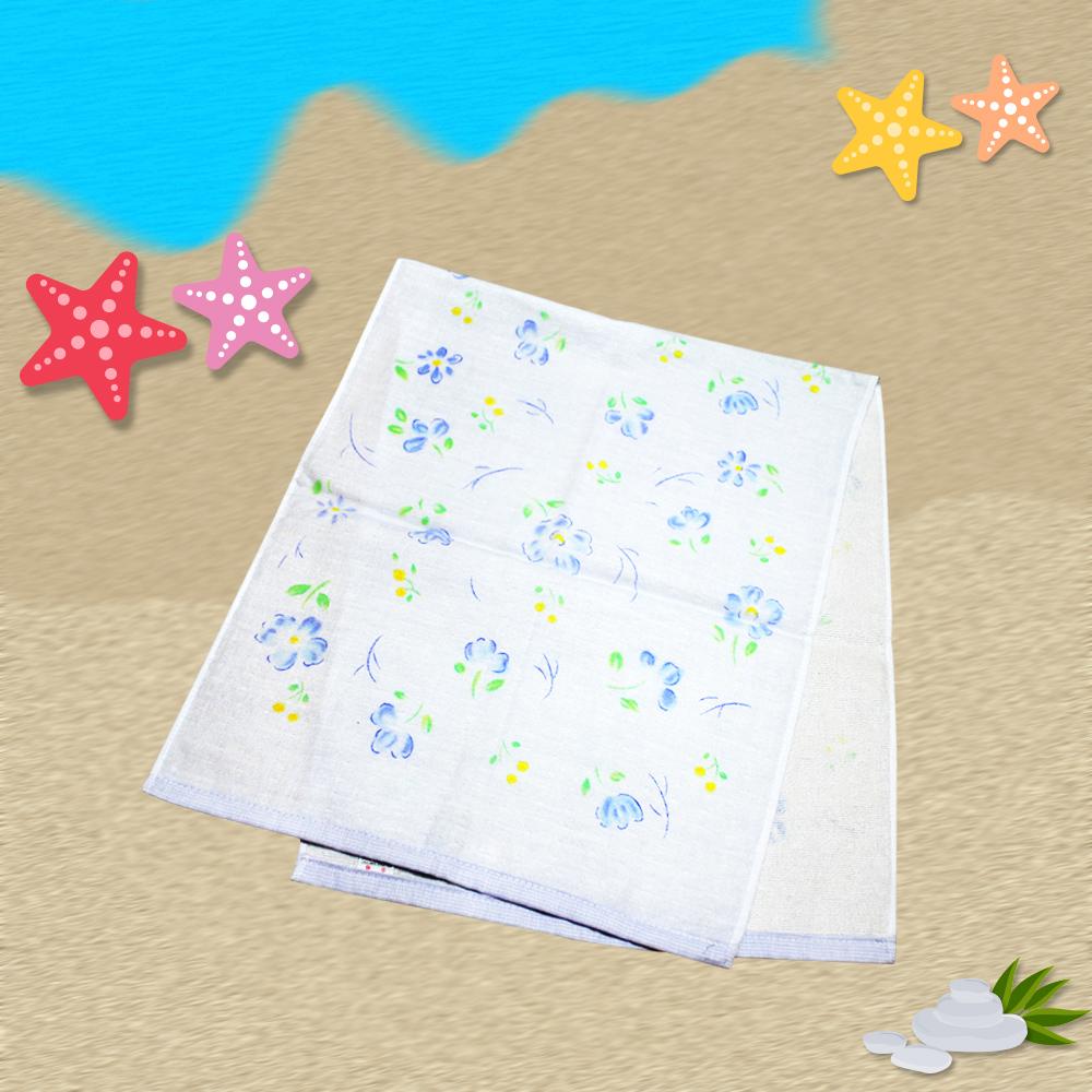 日本製藍花麻紗長巾34*85cm