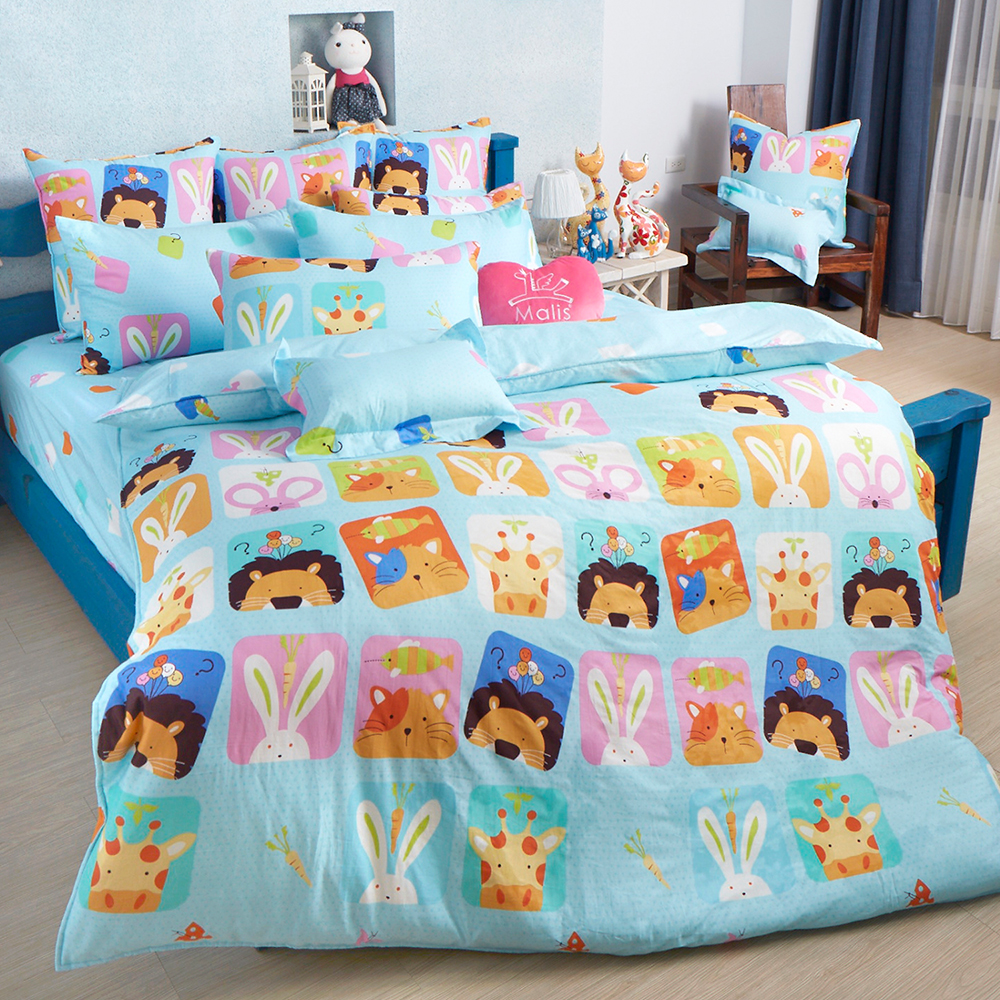 義大利Fancy Belle 繽紛動物園 加大純棉床包枕套組