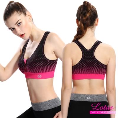 運動內衣 彈力幾何漸變前拉鍊式美背減壓運動內衣-亮桃紅 LOTUS