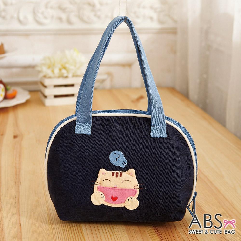 ABS貝斯貓 - HAHA開心貓咪拼布包 小型肩提包88-183 - 海洋藍