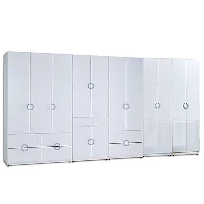 AT HOME-凱倫13尺白色五件組合衣櫃(400*54*197cm)
