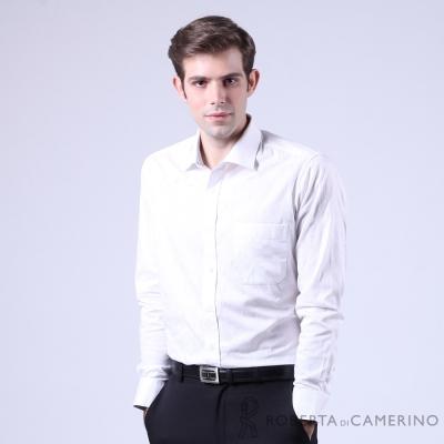 ROBERTA諾貝達 進口素材 合身版 純棉花紋緹花長袖襯衫 白色
