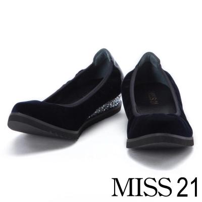 跟鞋 MISS 21 復古低調光澤絨布鬆緊帶楔型娃娃鞋-藍