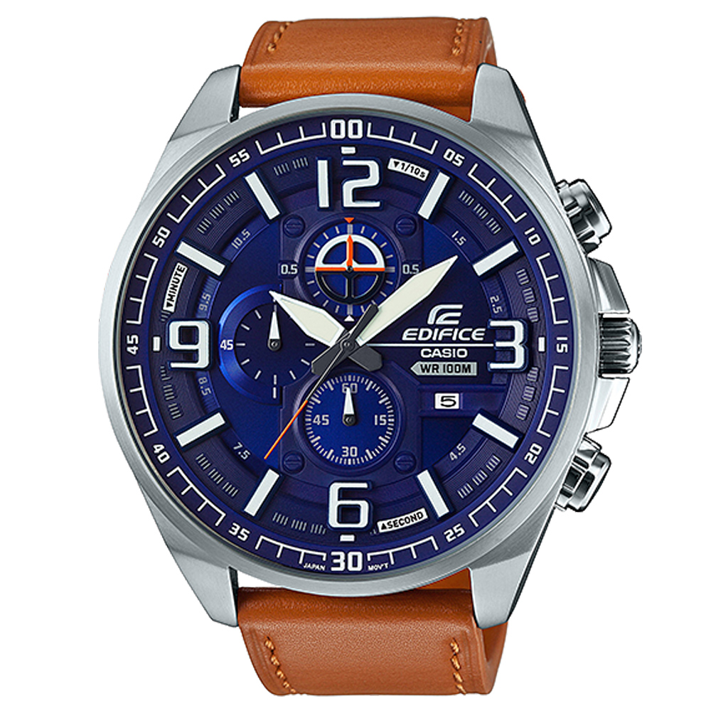 EDIFICE超大表面設計城市科技感賽車皮帶錶(EFR-555L-2A)-藍面/55mm