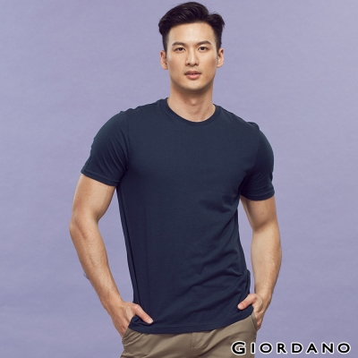 GIORDANO-男裝素色純棉圓領短袖TEE-36標誌海軍藍