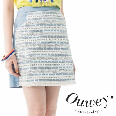 OUWEY歐薇 彈性拼接蕾絲A字短裙
