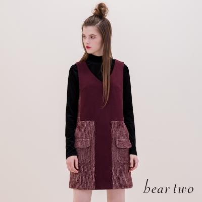 beartwo 簡約光澤感素面絨布高領剪裁上衣(二色)