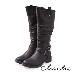 Chichi 完美比例 質感雙扣環側拉鍊長靴*黑色