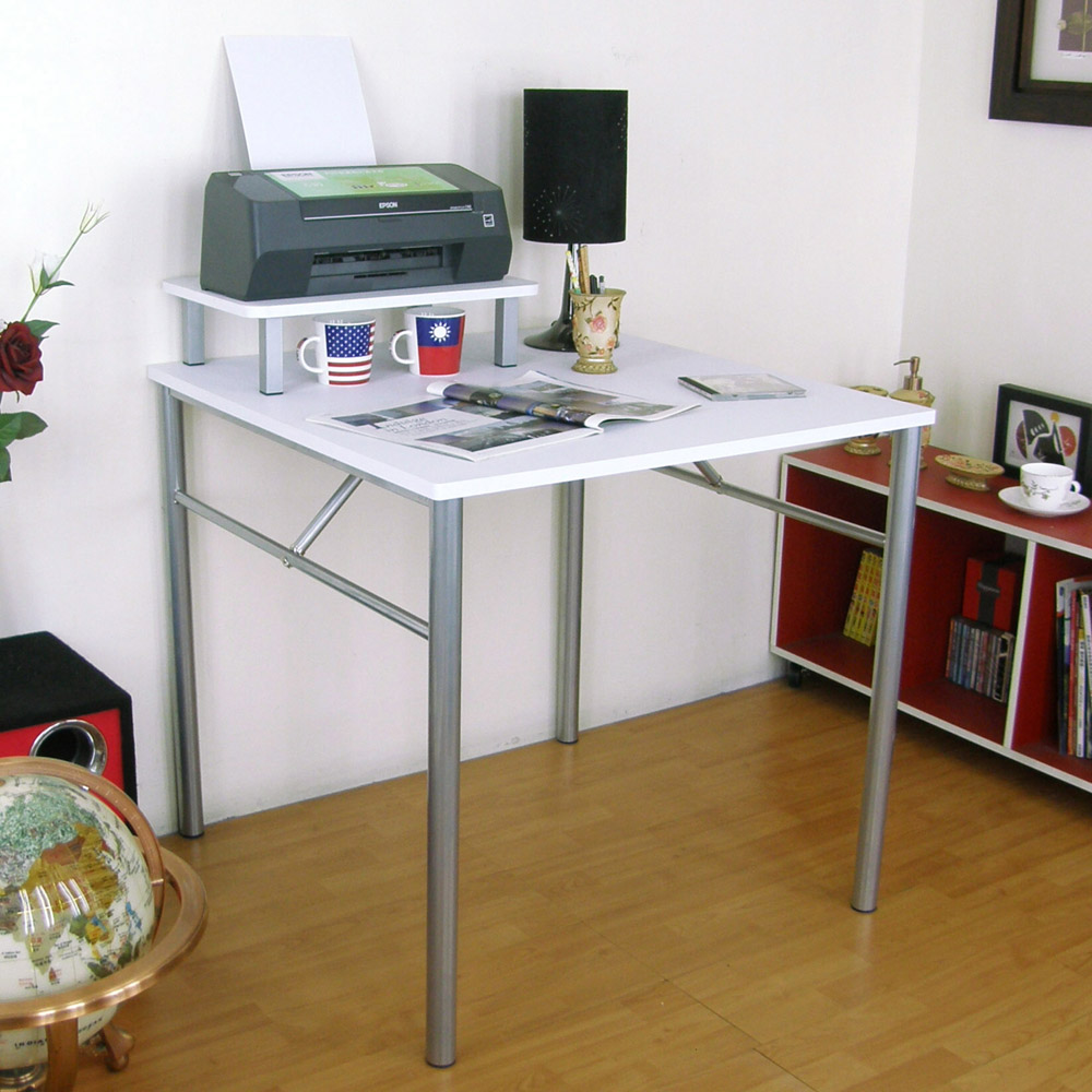 頂堅(桌面80x80cm)書桌/工作桌(附桌上架/二色)