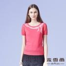 麥雪爾 蝴蝶結縷空袖棉質針織-桃紅