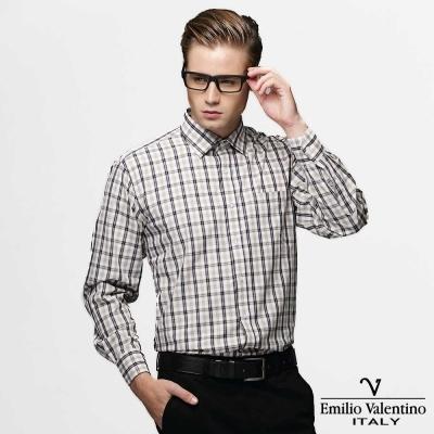 Emilio Valentino 范倫提諾純棉格紋襯衫-黃