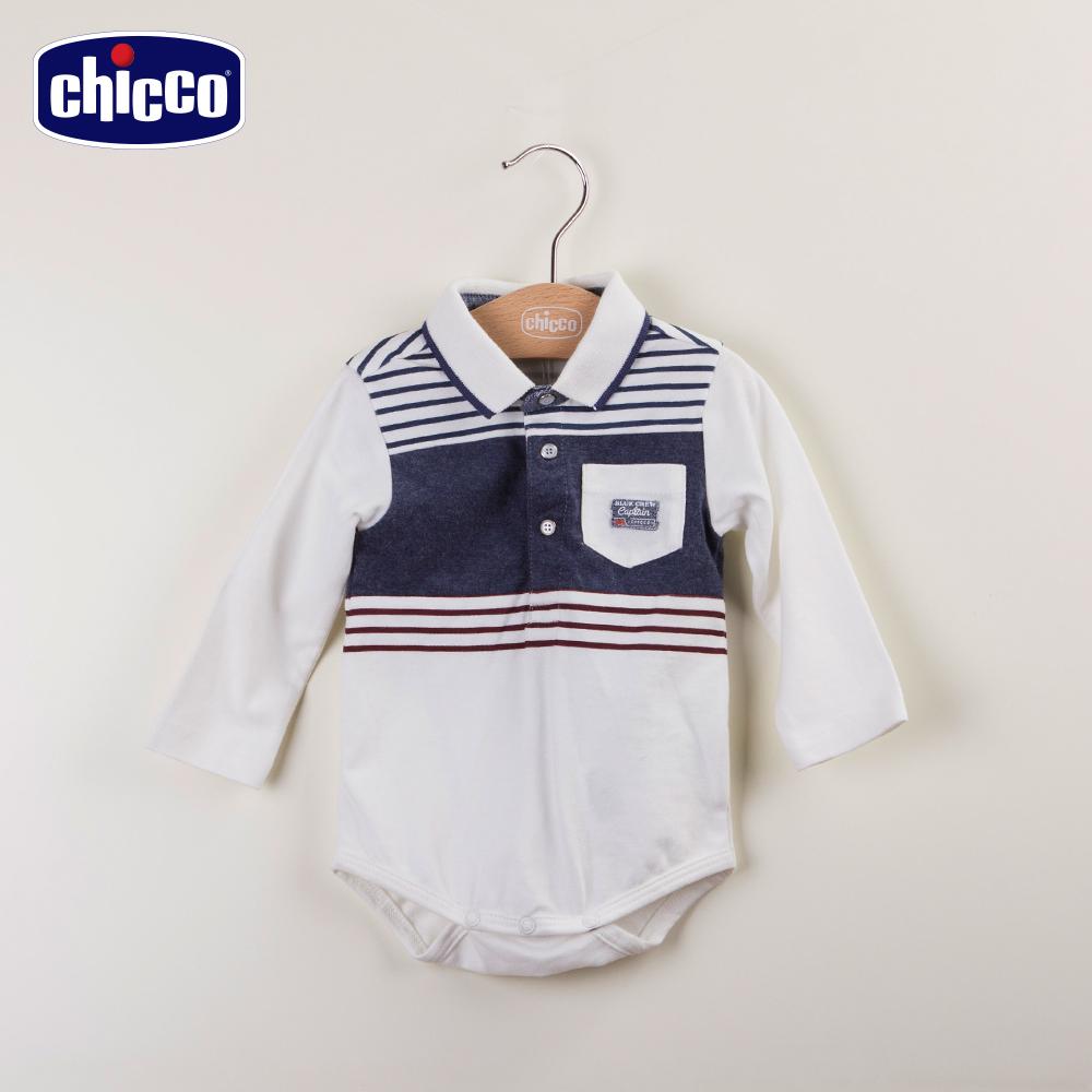 chicco馴龍高手條紋有領連身衣-米白(12-24個月)