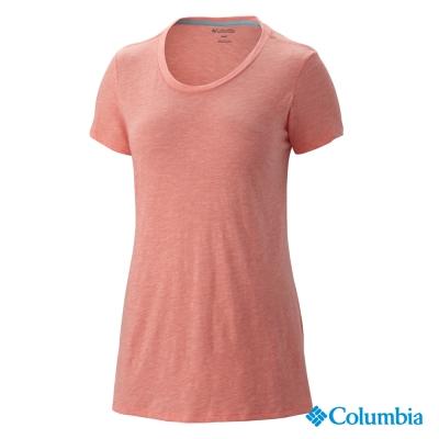 【美國Columbia哥倫比亞】短袖上衣棉T-女-粉橘(UAL68970PK)